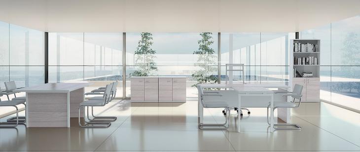 Коллекция мебели для кабинета руководителя Steel Evo дуб светлый стил ево